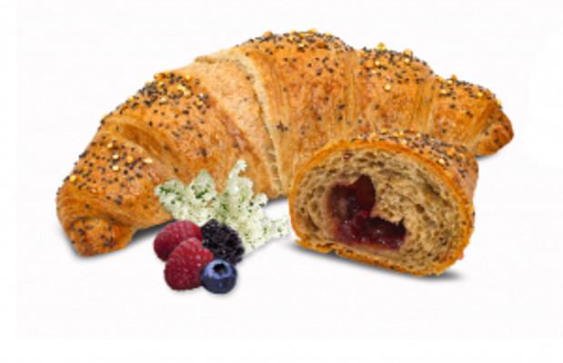 Express multicereální croissant s lesním ovocem a bezem - s máslem